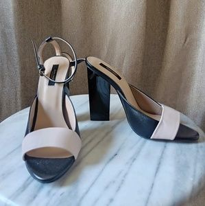 Zara Pink Beige & Black sandal heel, size 38